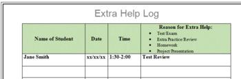 Extra Help Log