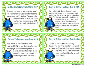 Extra Information Word Problems Task Cards