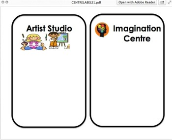 Extra Large Playful Learning Planning Centre Signs