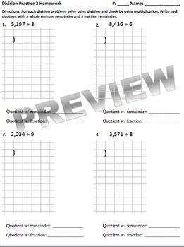 Extra Practice Division Homework (Part of Division Unit)