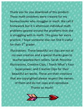 Extra Practice Math #2 5th Grade Math