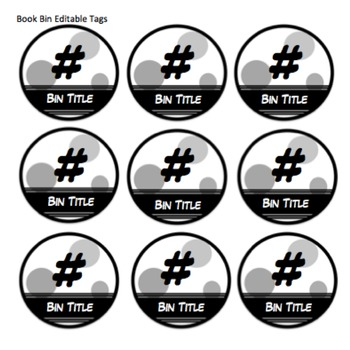 Extra Sturdy Editable Classroom Library and Book Box Labels-Black and White