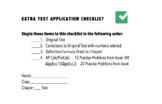 Extra Test Application Checklist (no more students asking