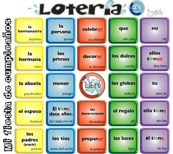 Extra boards (21-35) Lotería Mi fiesta de cumpleaños L75A