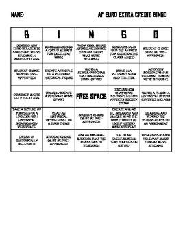 Extra-credit Bingo