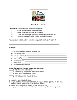 Extra en Español Episode 7 La Gemela worksheet by Senora ...