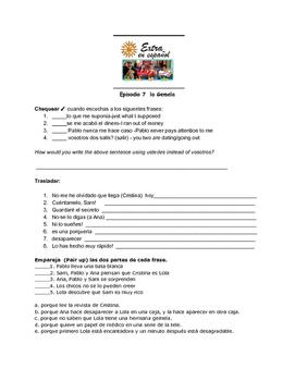 Extra en Español Episode 7 La Gemela worksheet by Senora