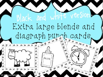 Extra large blends and diagraph punch cards(black and white)