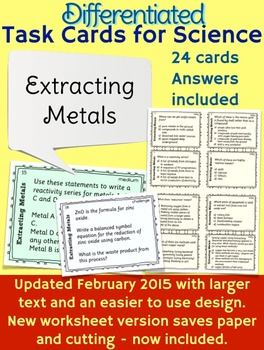 Extracting Metals Task cards