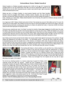Extraordinary Teens: Malala Yousafzai - Reading Comprehension Worksheet / Text