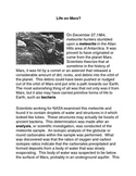 Extraterrestrial Life on Mars Common Core science Argument