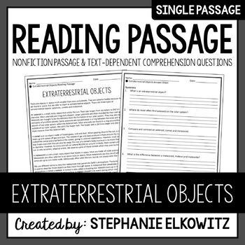 Extraterrestrial Objects Reading Passage