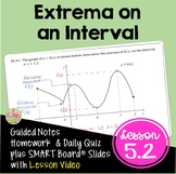 Calculus Extrema On An Interval with Lesson Video (Unit 5)