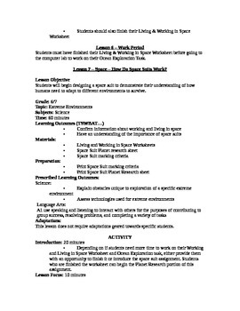Extreme Environments Detailed Unit Plan