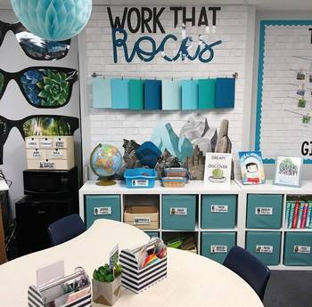 Extreme Makeover Classroom Edition Decor: Work That Rocks Bulletin Board