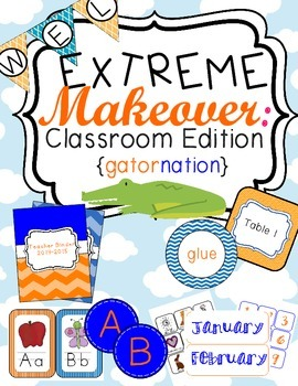Blue and Orange Gator Classroom Theme Printable Decor Kit