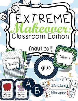 Nautical Classroom Theme Printable Decor Kit Green and Blue