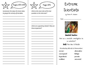 Extreme Scientists Trifold - Wonders 6th Grade Unit 6 Week 3