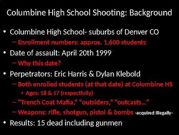 Extreme Violence in School- Case Studies & Learning Activities