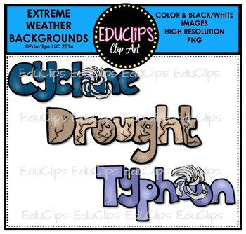 Extreme Weather Backgrounds Clip Art Bundle {Educlips Clipart}