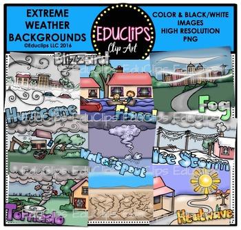 Extreme Weather Backgrounds Clip Art Bundle {Educlips Clipart}