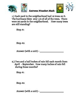 Extreme Weather Math Word Problems