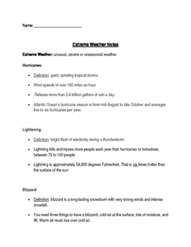 Extreme weather notes and follow-up worksheet