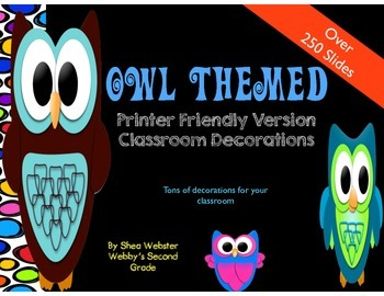 Extremely Cute Owl Classroom Decorations Printer Friendly Version