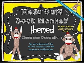 Extremely Cute Sock Monkey Mega Classroom Decorations