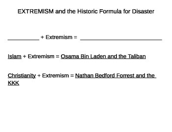 Extremism:  The Historical Formula for Disaster