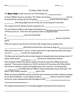 Exxon Valdez Video Worksheet
