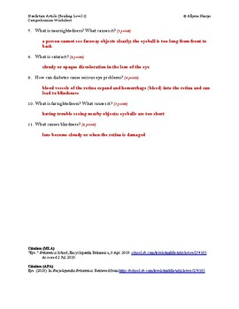 Eye Article (Reading Level 2) Comprehension Worksheet