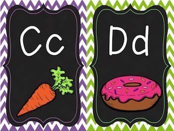 Eye Catching Classroom Alphabet (chalkboard/chevron)