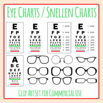 Eye Charts / Glasses / Vision / Snellen Charts Clip Art For Commercial Use