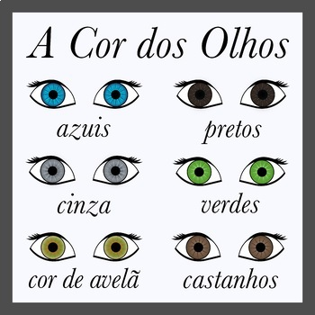 Eye Color in Portuguese -  (Printables and Clip Art)
