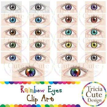 Eyes Clip Art – Eye Colors, Rainbow Eyes (Realistic)