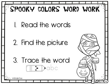 October Write the Room Word Work - color words