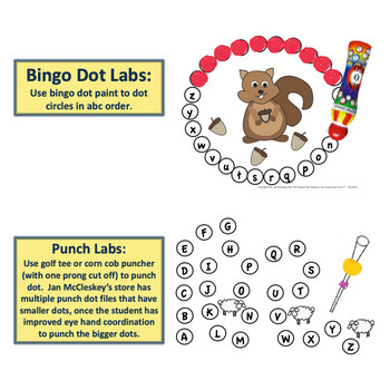 ABC Order Sequencing PUNCH DOTS - Fall and Farm Animal Themed