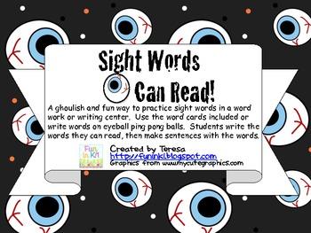 Eye Know Sight Words Word Work Center