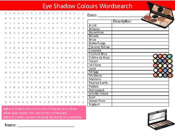Eye Shadow Colours Shades Wordsearch Sheet Starter Activity Keywords Art Beauty