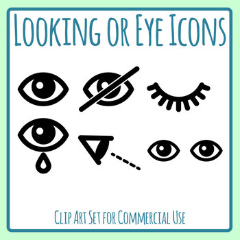 Eye or Looking Here Icons Clip Art Set for Commercial Use