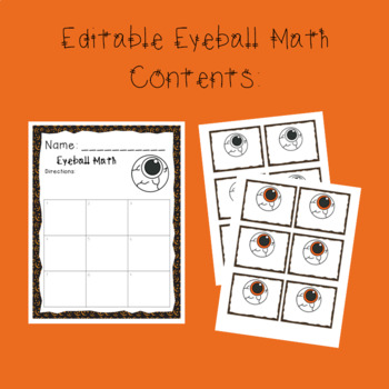 Eyeball Math for Addition, Subtraction, Multiplication, or Division - Editable!