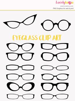 Eyeglasses clipart, black eye wear clip art (LC13)