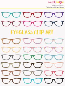 Eyeglasses clipart, multi-color eye wear clip art (LC10)