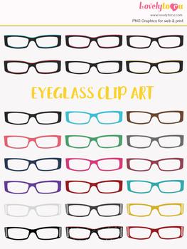 Eyeglasses clipart, multi-color eye wear clip art (LC11)