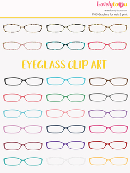 Eyeglasses clipart, multi-color eye wear clip art (LC12)