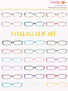 Eyeglasses clipart, multi-color eye wear clip art (LC12)