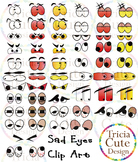 Eyes Clip Art – Sad, Shock, Tired, Angry Emotions