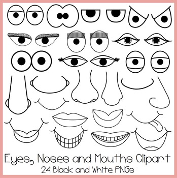 Eyes, Noses and Mouths Clipart