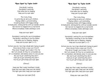 Eyes Open By Taylor Swift Lyrics Civil War Reading Analyzation Tpt